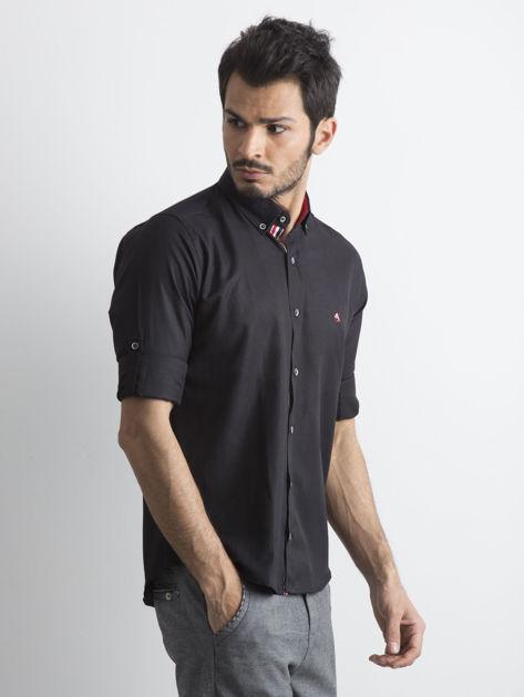 Czarna koszula męska regular fit z podwijanymi rękawami                               zdj.                              3