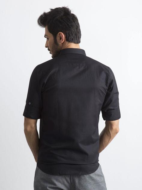 Czarna koszula męska regular fit z podwijanymi rękawami                               zdj.                              2