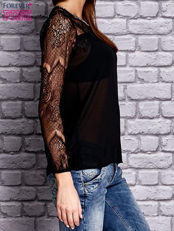 Czarna koszula mgiełka z koronkowymi rękawami                                   zdj.                                  3