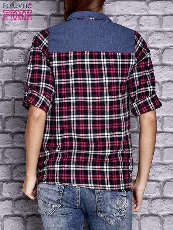 Czarna koszula w kolorową kratę z denimową wstawką                                  zdj.                                  3