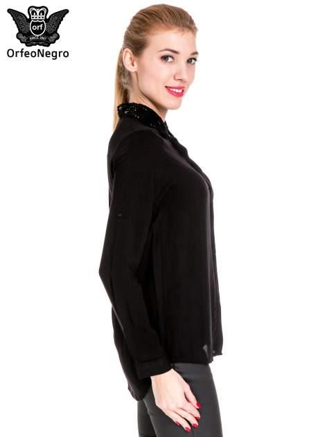 Czarna koszula z biżuteryjnym kołnierzykiem                                  zdj.                                  3