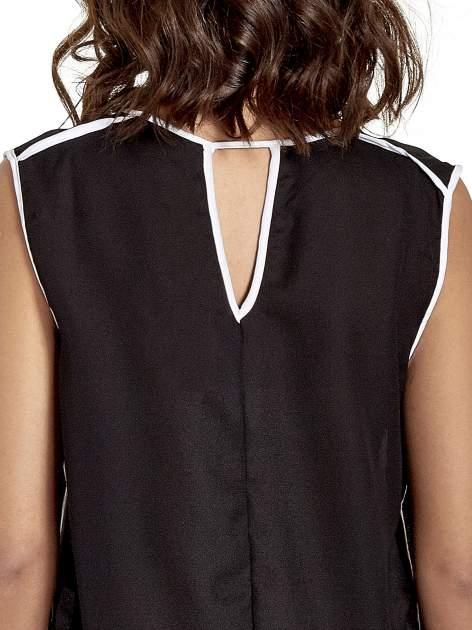 Czarna koszula z kontrastowymi przeszyciami                                  zdj.                                  6
