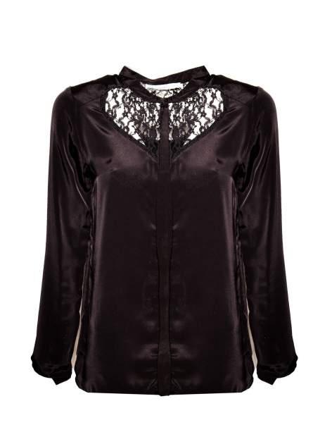 Czarna koszula z koronkowym żabotem w stylu wiktoriańskim