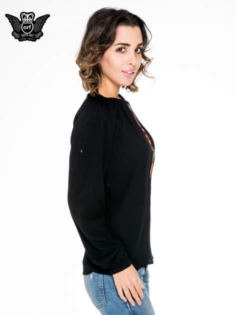 Czarna koszula z marszczonym dekoltem i wzorzystą wstawką w stylu hippie                                  zdj.                                  3