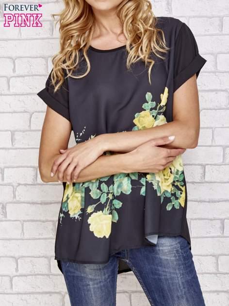 Czarna koszula z motywem kwiatów                                  zdj.                                  1