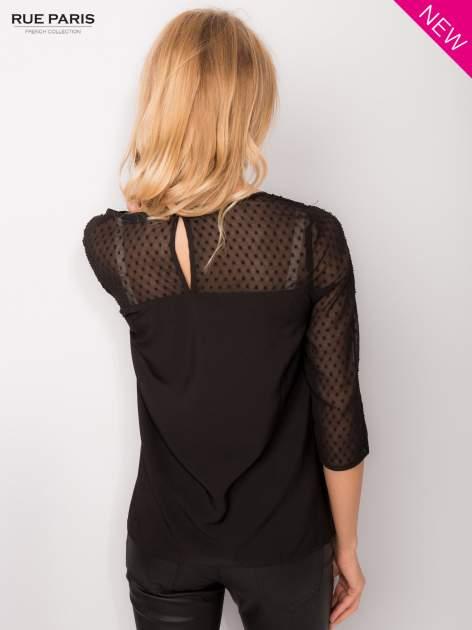 Czarna koszula z przezroczystym materiałem w groszki                                  zdj.                                  5