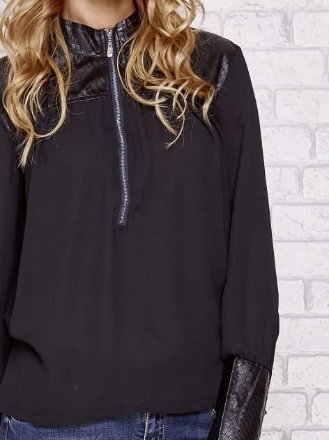 Czarna koszula ze skórzanymi pikowanymi wstawkami                                  zdj.                                  5