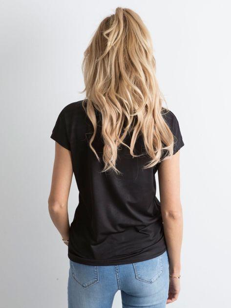 Czarna koszulka damska z napisem                              zdj.                              2