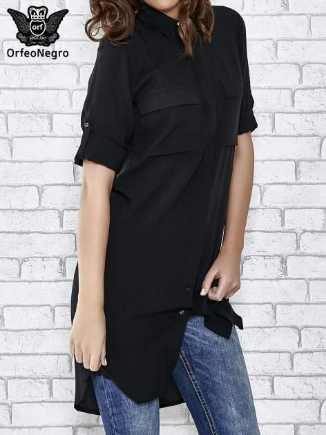 Czarna koszulotunika z kieszonkami