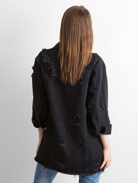 Czarna kurtka jeansowa z przetarciami                              zdj.                              2