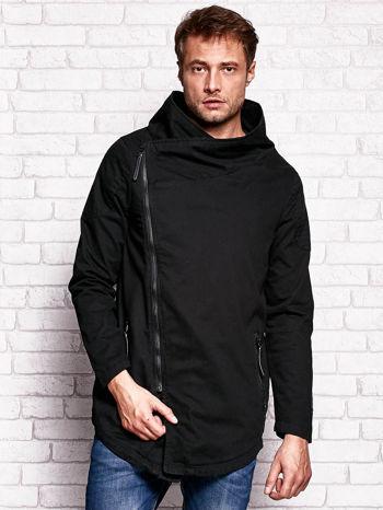 Czarna kurtka męska z asymetrycznym zapięciem                                  zdj.                                  1