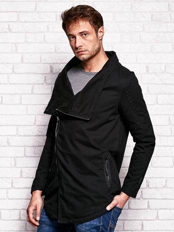 Czarna kurtka męska z asymetrycznym zapięciem                              zdj.                              3