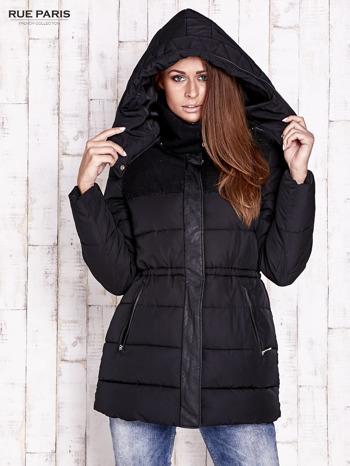 Czarna kurtka puchowa ze skórzanymi wstawkami                                  zdj.                                  5