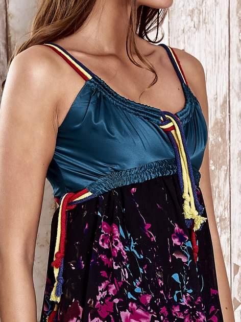 Czarna kwiatowa sukienka z kolorowymi troczkami                                  zdj.                                  6
