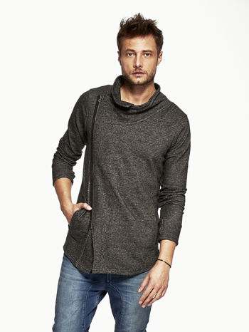 Czarna melanżowa bluza męska z ukośnym zapięciem                                  zdj.                                  1