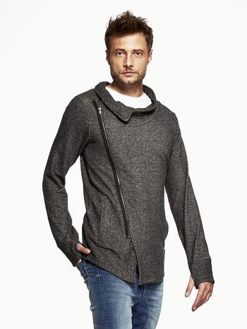 Czarna melanżowa bluza męska z ukośnym zapięciem                                  zdj.                                  3