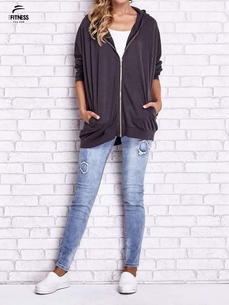 Czarna melanżowa bluza oversize                                  zdj.                                  9