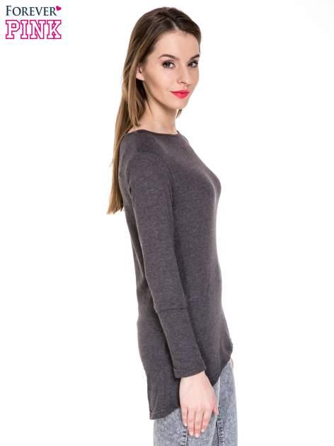 Czarna melanżowa bluzka z dłuższym tyłem                                  zdj.                                  3