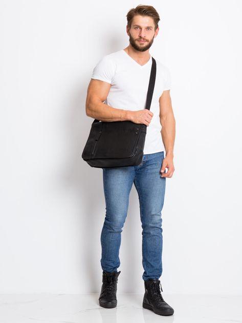 Czarna męska torba na ramię z ekoskóry                              zdj.                              3