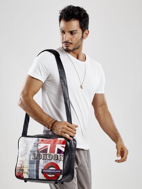 Czarna męska torba na ramię z nadrukiem                              zdj.                              4
