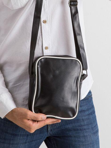 Czarna męska torba z ekoskóry                              zdj.                              2