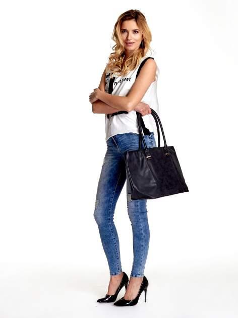 Czarna miękka torba shopper bag                                  zdj.                                  2