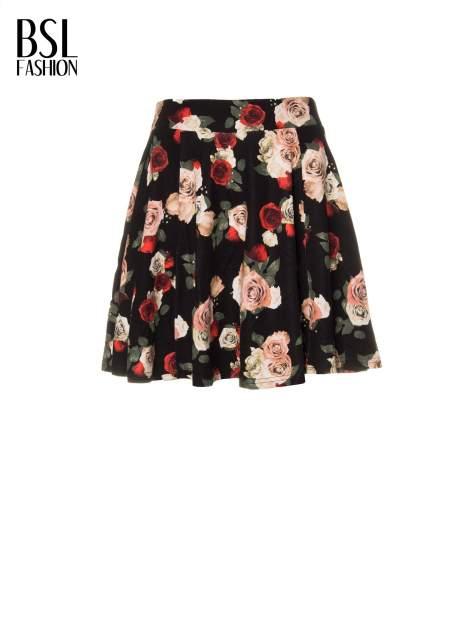 Czarna mini spódnica skater w kwiaty                                  zdj.                                  8