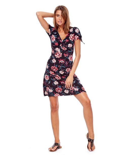 Czarna mini sukienka V-neck z nadrukiem kwiatów                              zdj.                              4