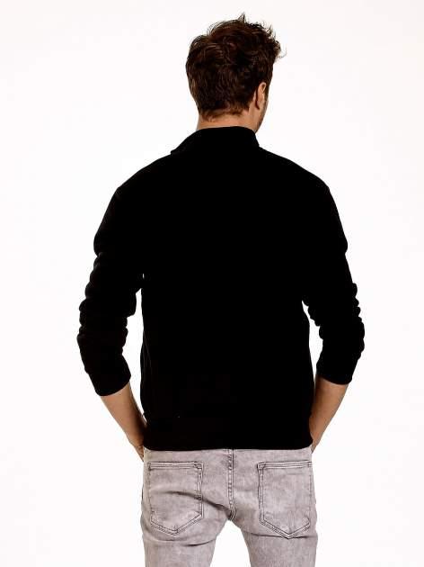 Czarna ocieplana bluza męska na suwak z kieszeniami                                  zdj.                                  5