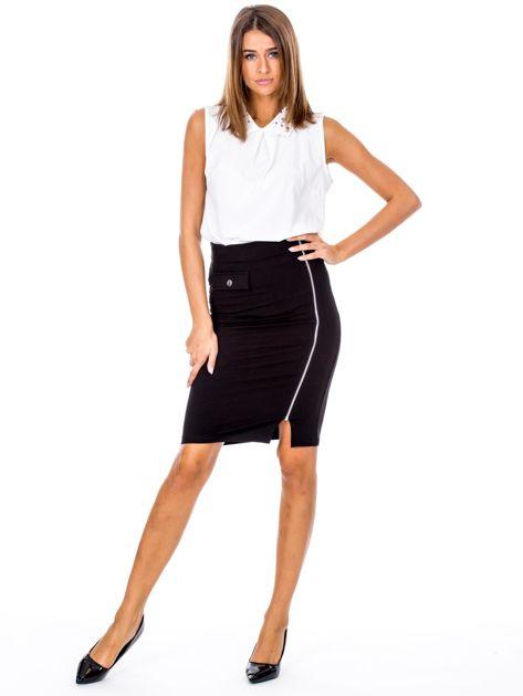 Czarna ołówkowa spódnica z suwakiem                               zdj.                              4
