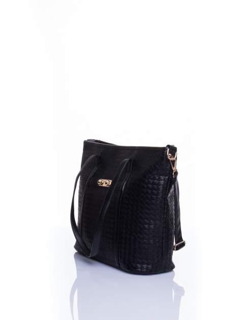 Czarna pleciona torba shopper bag ze złotym detalem                                  zdj.                                  4