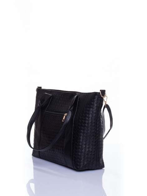 Czarna pleciona torebka z suwakami                                  zdj.                                  4