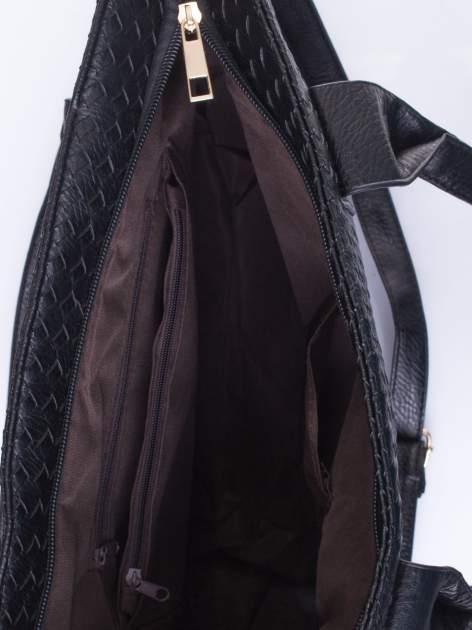 Czarna pleciona torebka z suwakami                                  zdj.                                  5