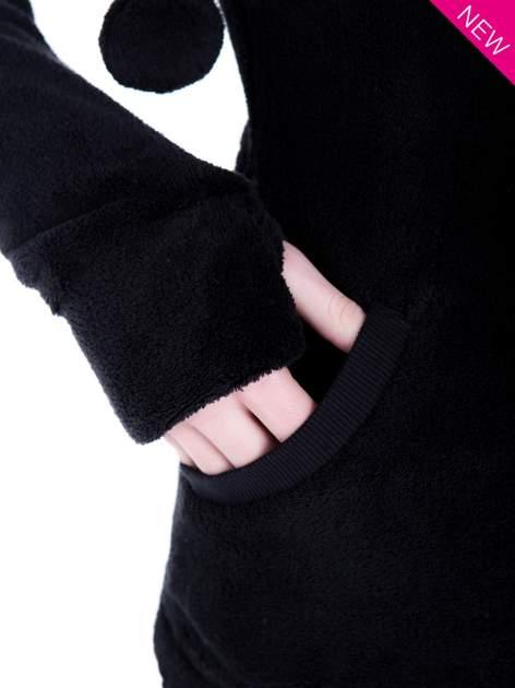 Czarna pluszowa bluza z kapturem z uszkami i pomponami                                  zdj.                                  8