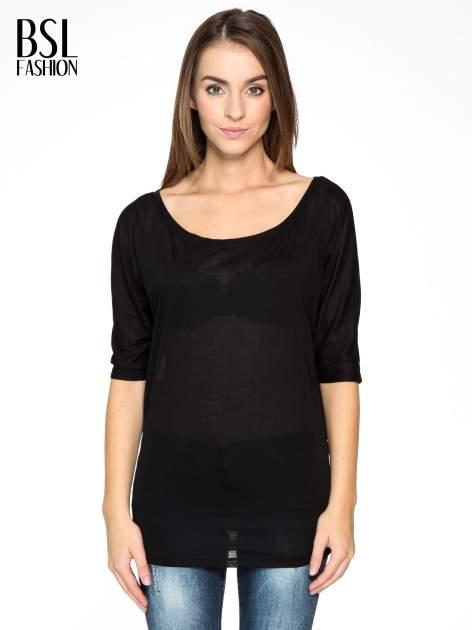 Czarna półtransparentna bluzka z łódkowym dekoltem i rękawami 3/4                                  zdj.                                  1