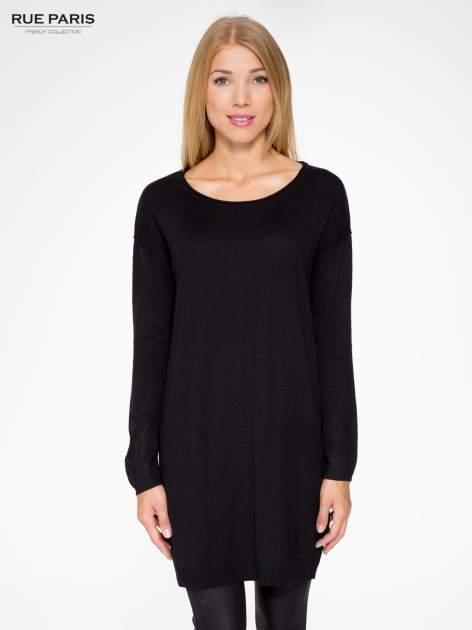 Czarna prosta dzianinowa sukienka                                  zdj.                                  1