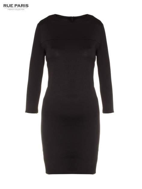 Czarna prosta sukienka z rękawami 3/4                                  zdj.                                  5