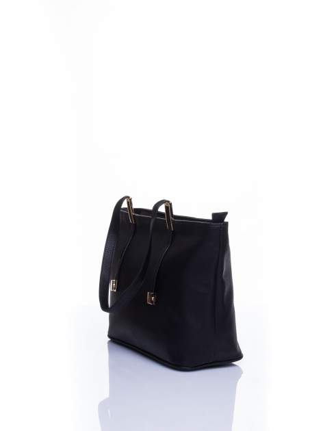 Czarna prosta torba shopper bag                                  zdj.                                  4