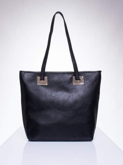 Czarna prosta torba shopper bag ze złotymi okuciami                                  zdj.                                  1