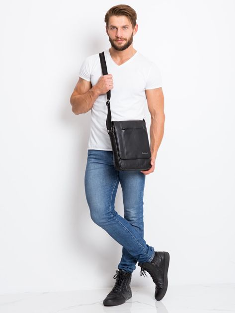 Czarna prostokątna męska torba ze skóry                              zdj.                              4