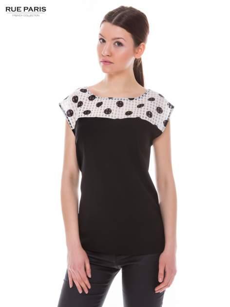Czarna retro koszula z karczkiem w grochy                                  zdj.                                  1