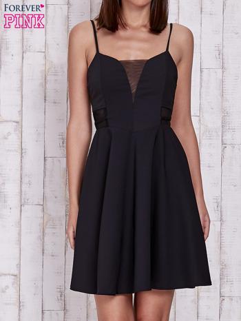 Czarna rozkloszowana sukienka z tiulowym dekoltem                                  zdj.                                  1