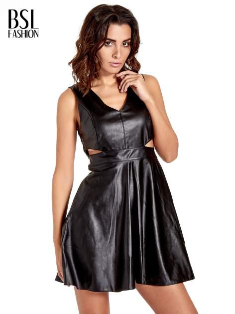 Czarna skórzana sukienka cut out                                  zdj.                                  1