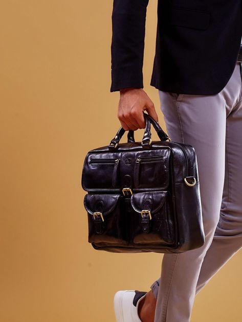 Czarna skórzana torba męska z odpinanym paskiem                              zdj.                              1