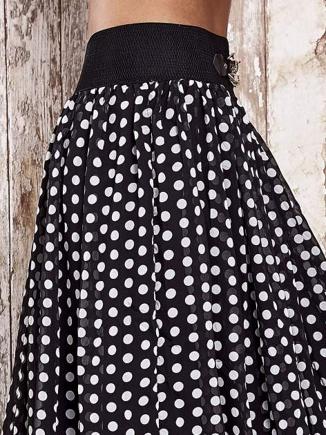 Czarna spódnica maxi w grochy z ozdobnym pasem                                  zdj.                                  5