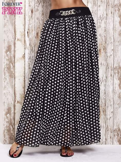 Czarna spódnica maxi w grochy z ozdobnym pasem                                  zdj.                                  1