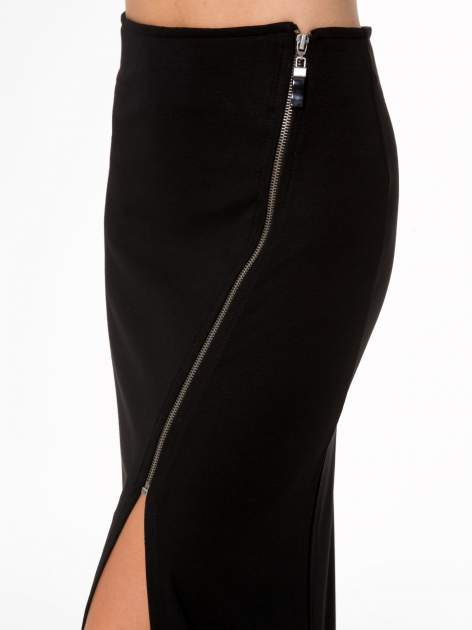 Czarna spódnica maxi z asymetrycznym zamkiem                                  zdj.                                  6
