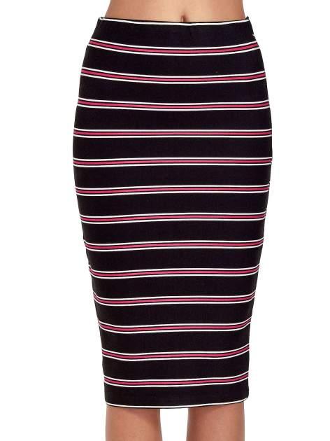 Czarna spódnica midi w różowe paski                                  zdj.                                  5
