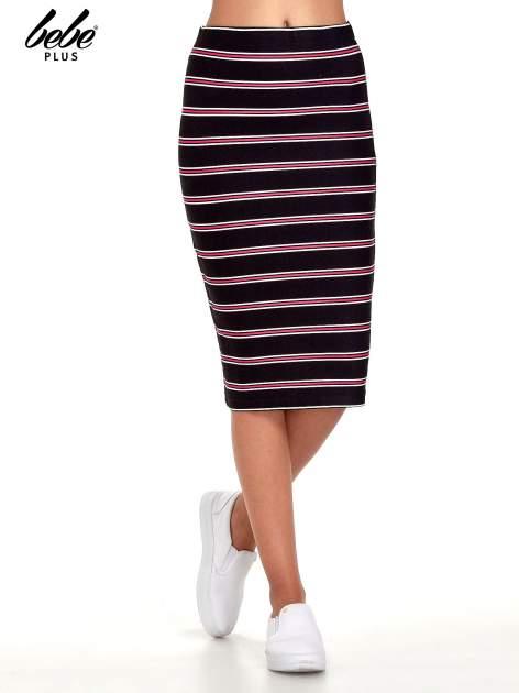 Czarna spódnica midi w różowe paski                                  zdj.                                  1