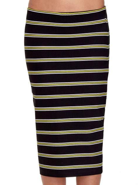 Czarna spódnica midi w żółte paski                                  zdj.                                  5